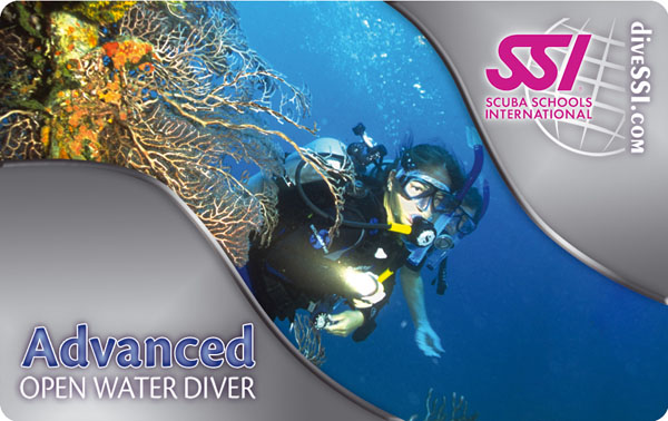 Carte de certification ADVANCED OPEN WATER DIVER de SSI